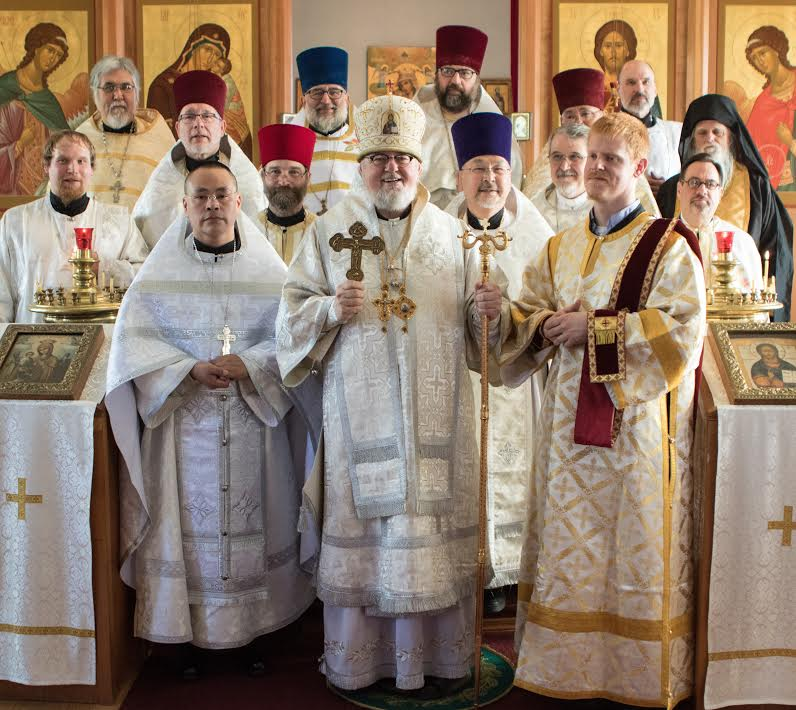 Bishop David of Alaska with Seminary and Guest Clergy - Deacon Stephen is the redhead